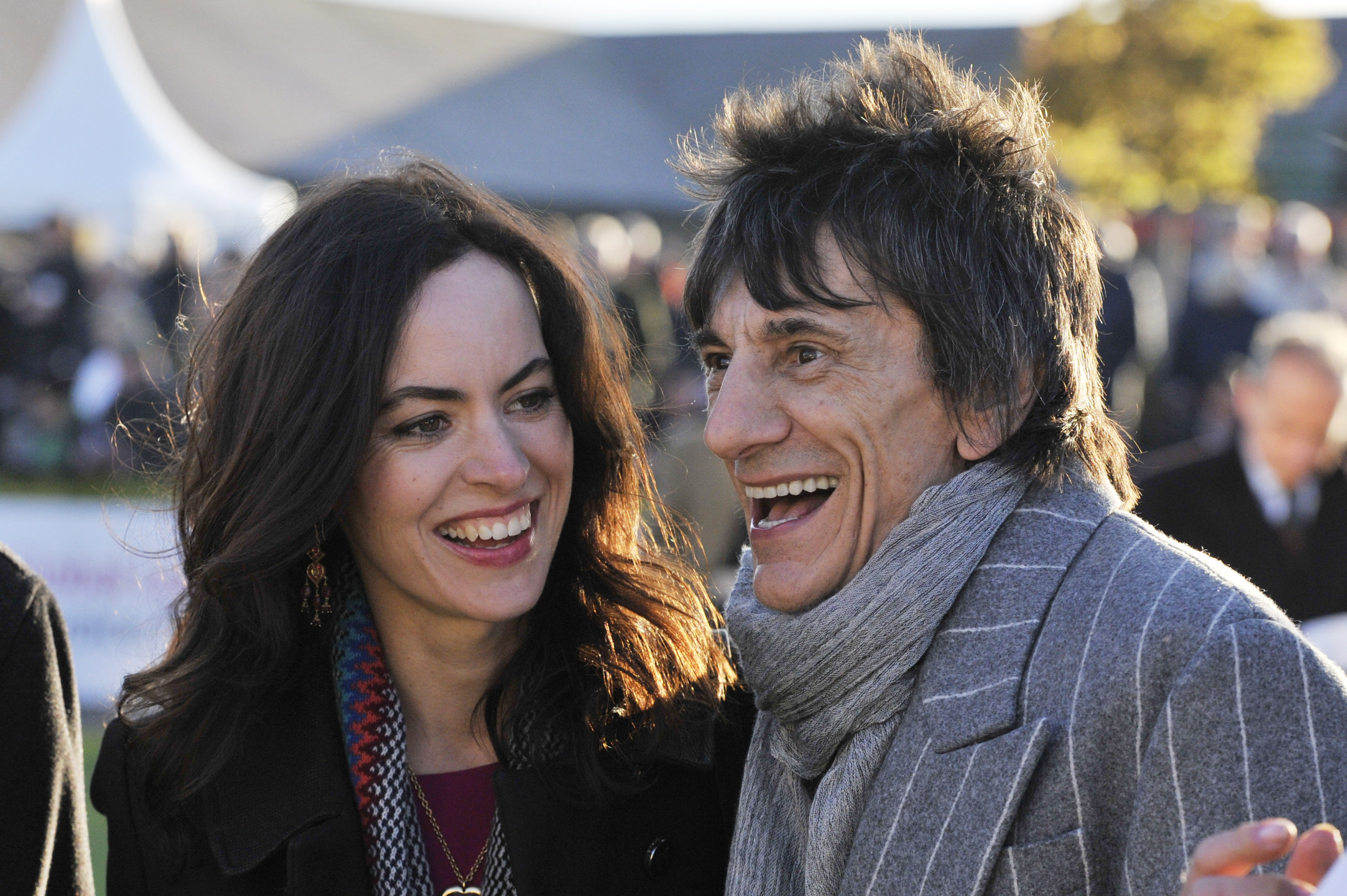 Sally Humphreys and Ronnie Wood attends the Punchestown Racecourse in Naas, Ireland on April 30, 2015 | Photo: Getty Images