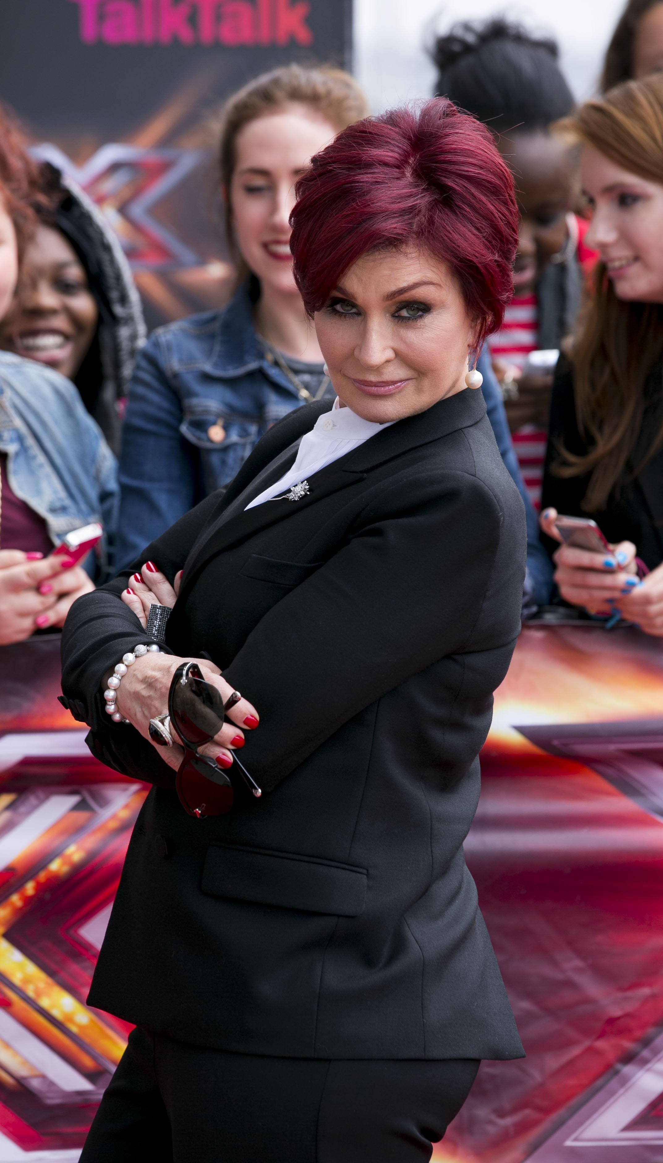 "Sharon Osbourne arrives for the ""X Factor"" London audition in England on June 19, 2013 