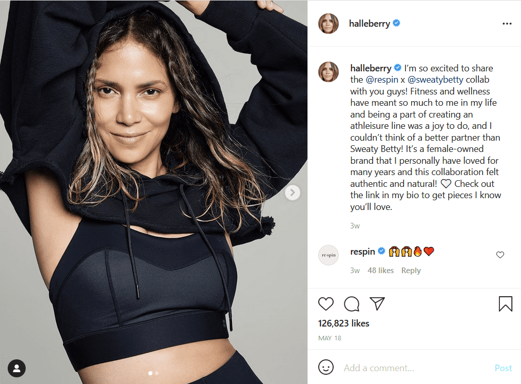 Halle Berry in a shot wearing her workout sweats.   Photo: Instagram/Halleberry