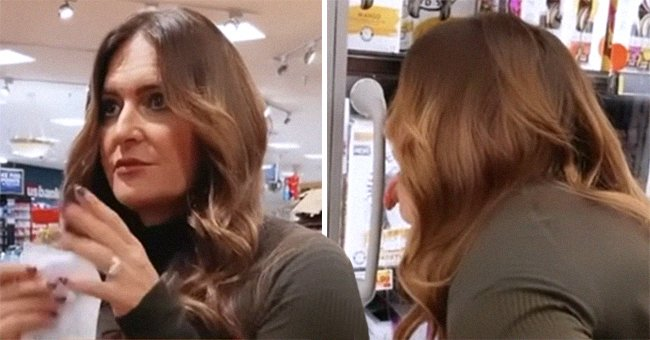 Jodie Meschuk inside the grocery store and licking a refrigerator door   Photo: Reddit.com/PenultimateKetchup