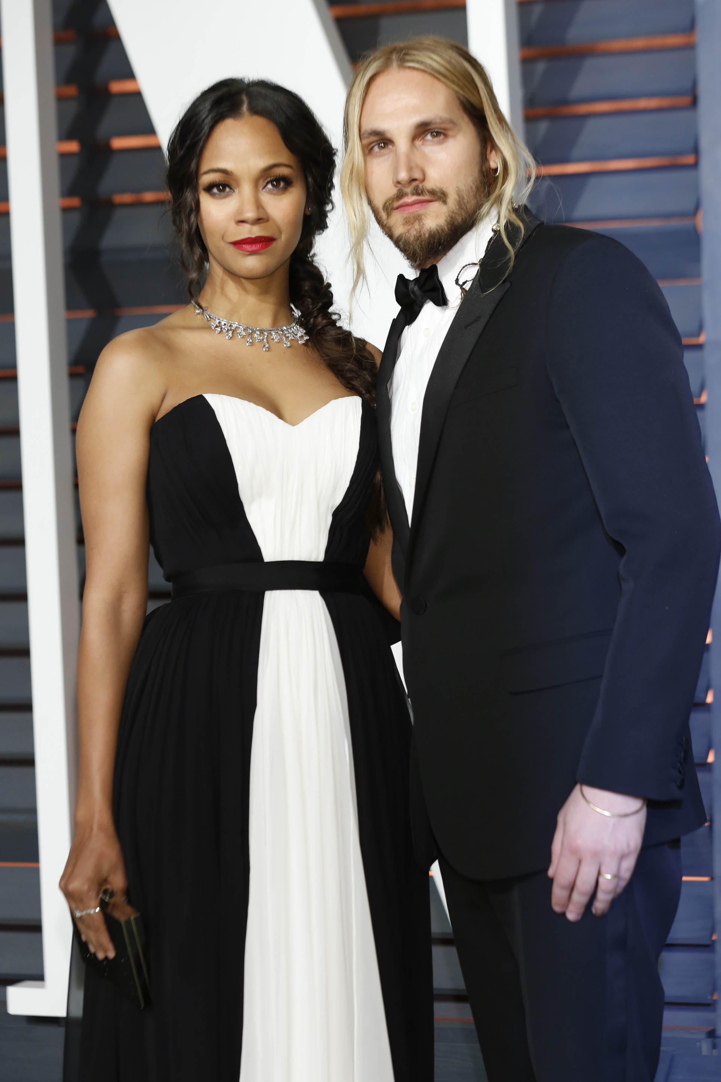 Zoe Saldana, Marco Perego at the Vanity Fair Oscar Party on February 22, 2015. | Photo: Shutterstock