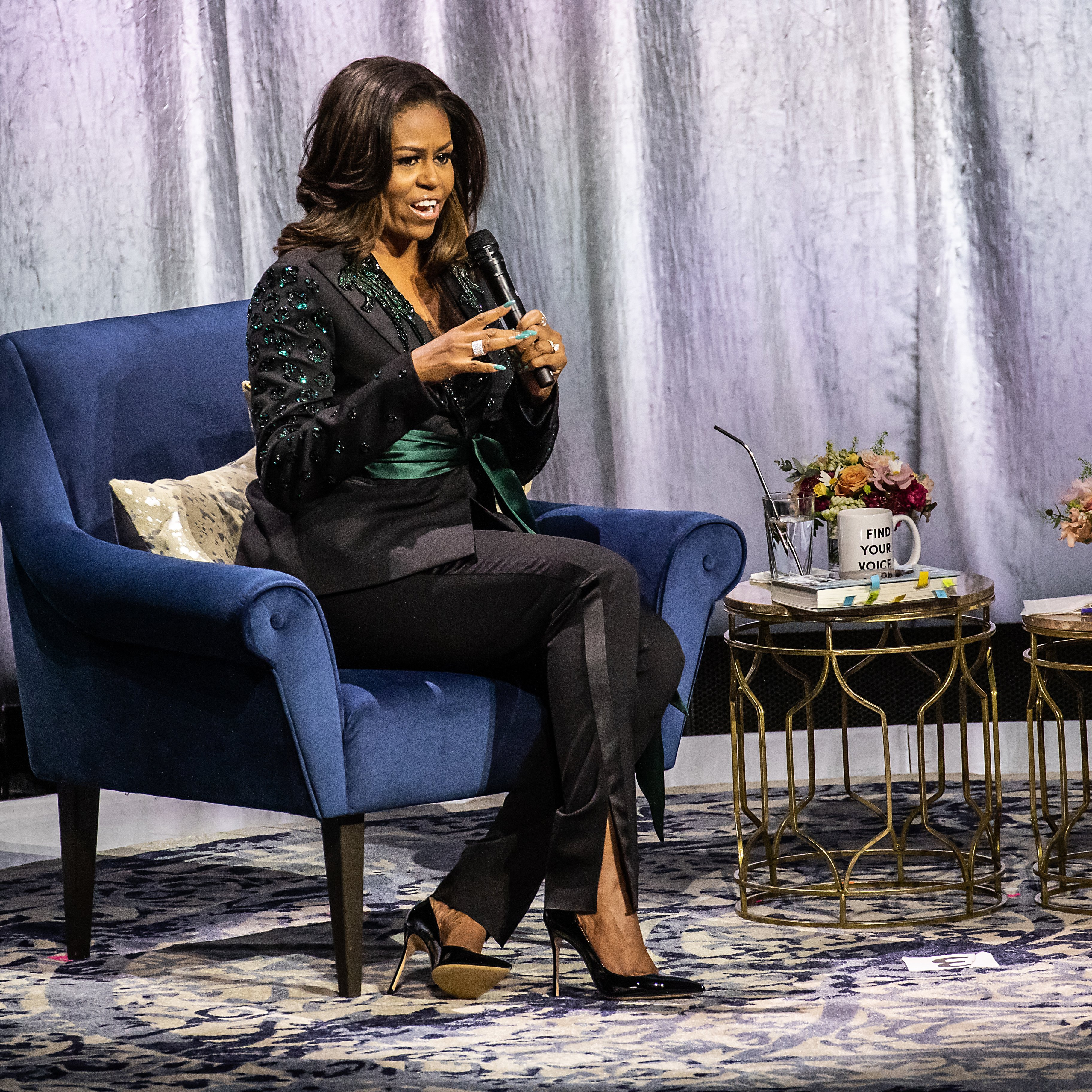 "Michelle Obama held a conversation with Phoebe Robinson about her book ""Becoming"" at Oslo Spektrum on April 11, 2019, in Oslo, Norway. 