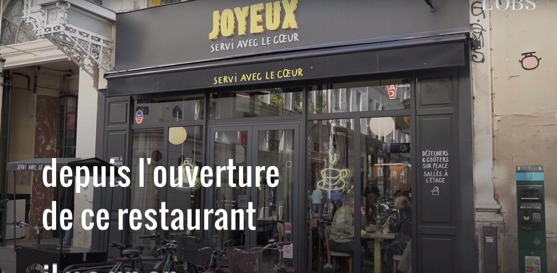"""Le restaurant """"Le Joyeux"""". l Source: YouTube/L'Obs"""