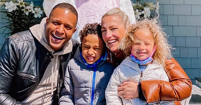 Craig Melvin Smiles with His Family Posing in Front of a 9 Feet Tall Bunny on Easter (Photo)