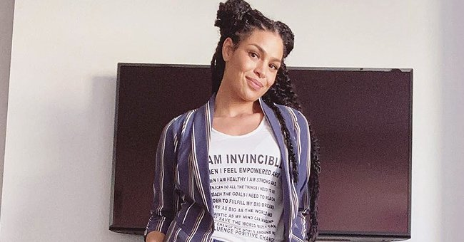 'American Idol' Alum Jordin Sparks Shows off Her Long Legs Modeling a Chic Striped Suit