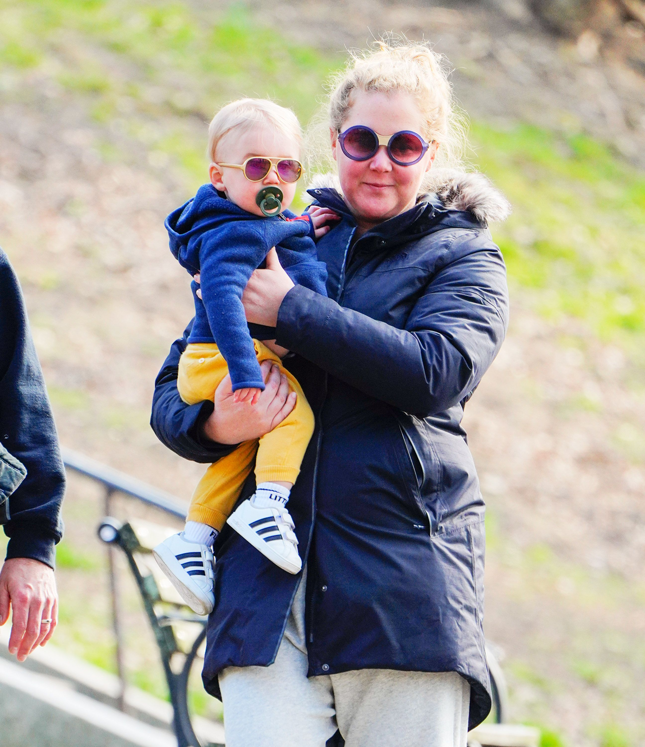 Amy Schumer with her son Gene Fischer out in New York on March 22, 2020   Getty Images