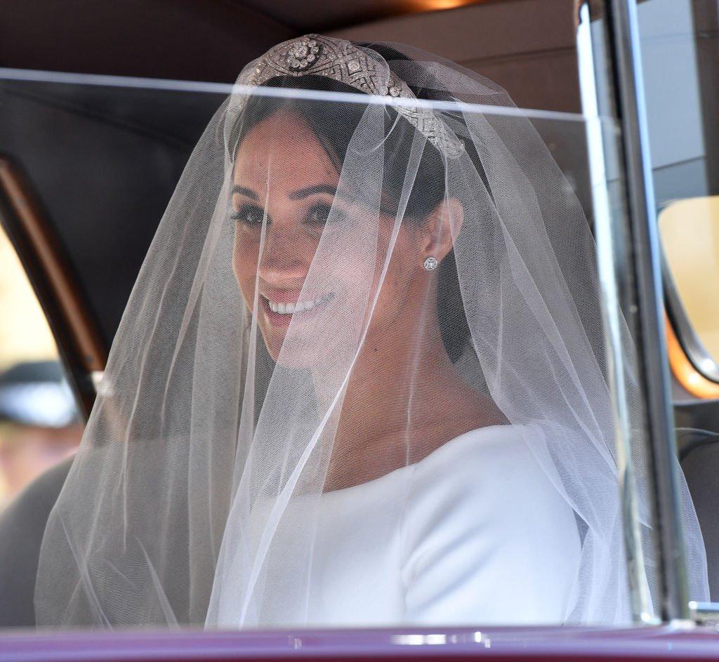 Meghan Markle dans sa robe de mariée. l Source : Getty Images