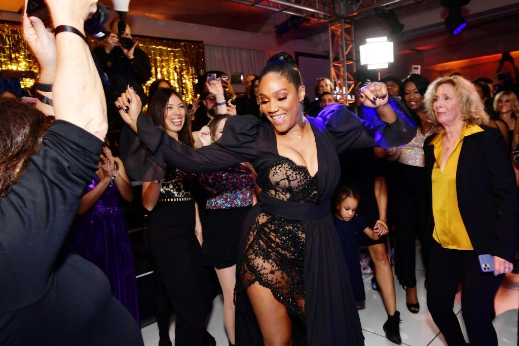 """Tiffany Haddish enjoying the night at her """"Black Mitzvah"""" party on December 3, 2019. 