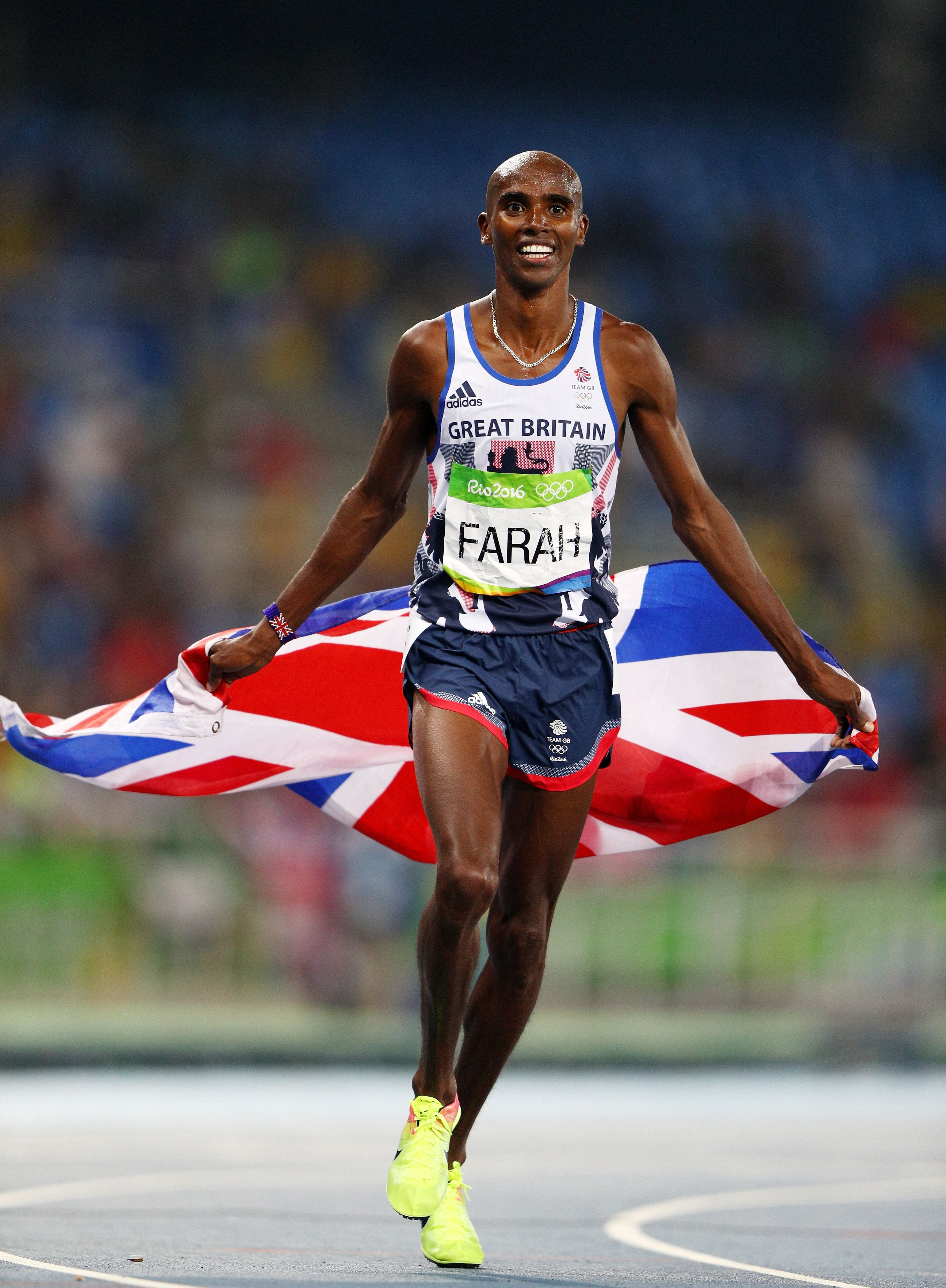 Mohamed Farah of Great Britain after winning gold in the Men's 5000 meter Final of the 2016 Olympic Games on August 20, 2016 in Rio de Janeiro, Brazil | Photo: Getty Images