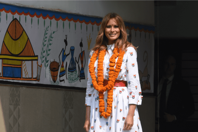 Melania Trump during an interaction with students of Sarvodaya Co-Educational Senior Secondary School during a visit to a Delhi Government School, at Moti Bagh on February 25, 2020 in New Delhi, India. | Source: Getty Images