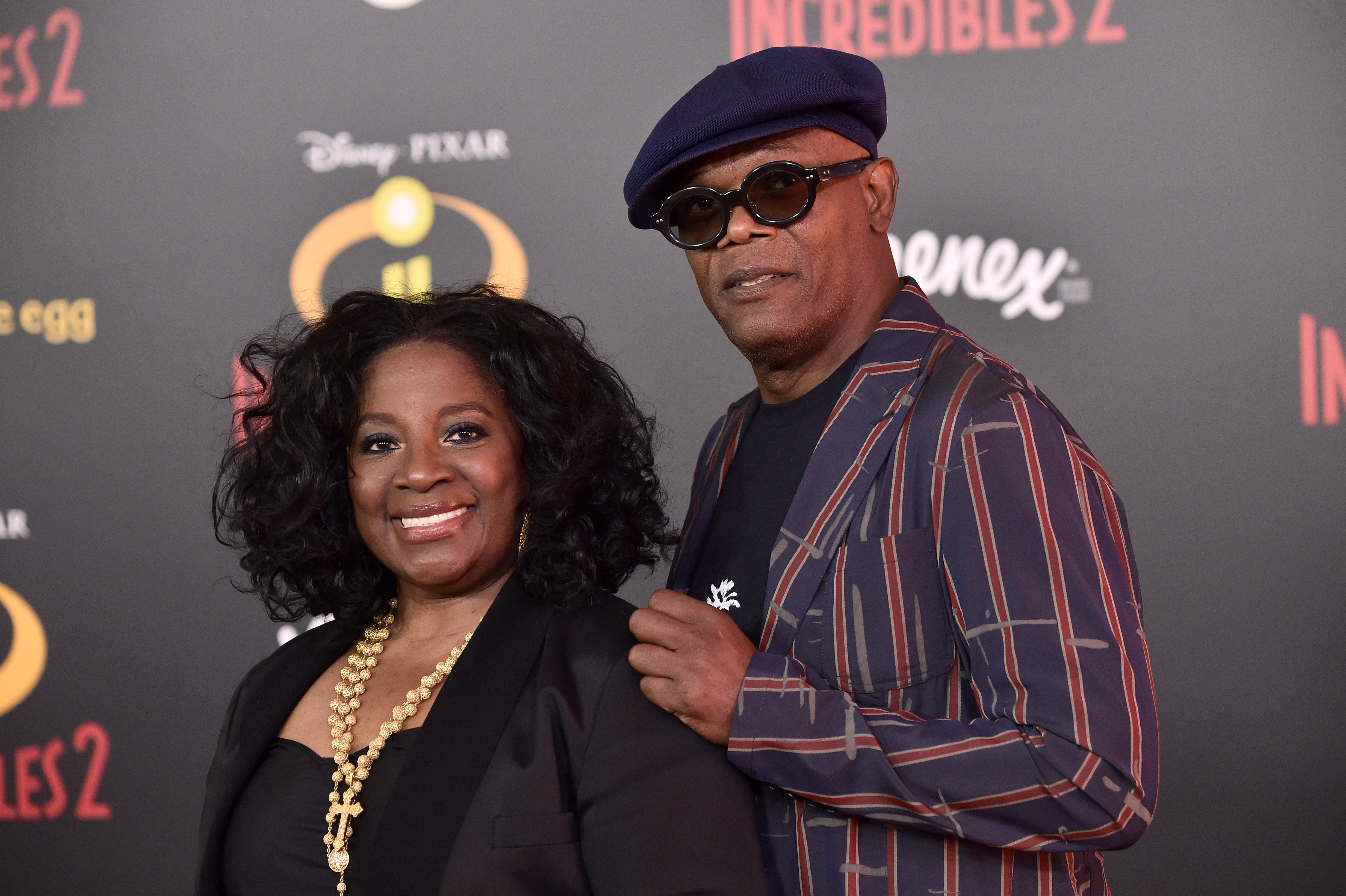 "Samuel L. Jackson, LaTanya Richardson attend Premiere Of Disney And Pixar's ""Incredibles 2"" at the El Capitan Theatre on June 5, 2018, in Los Angeles, California. 
