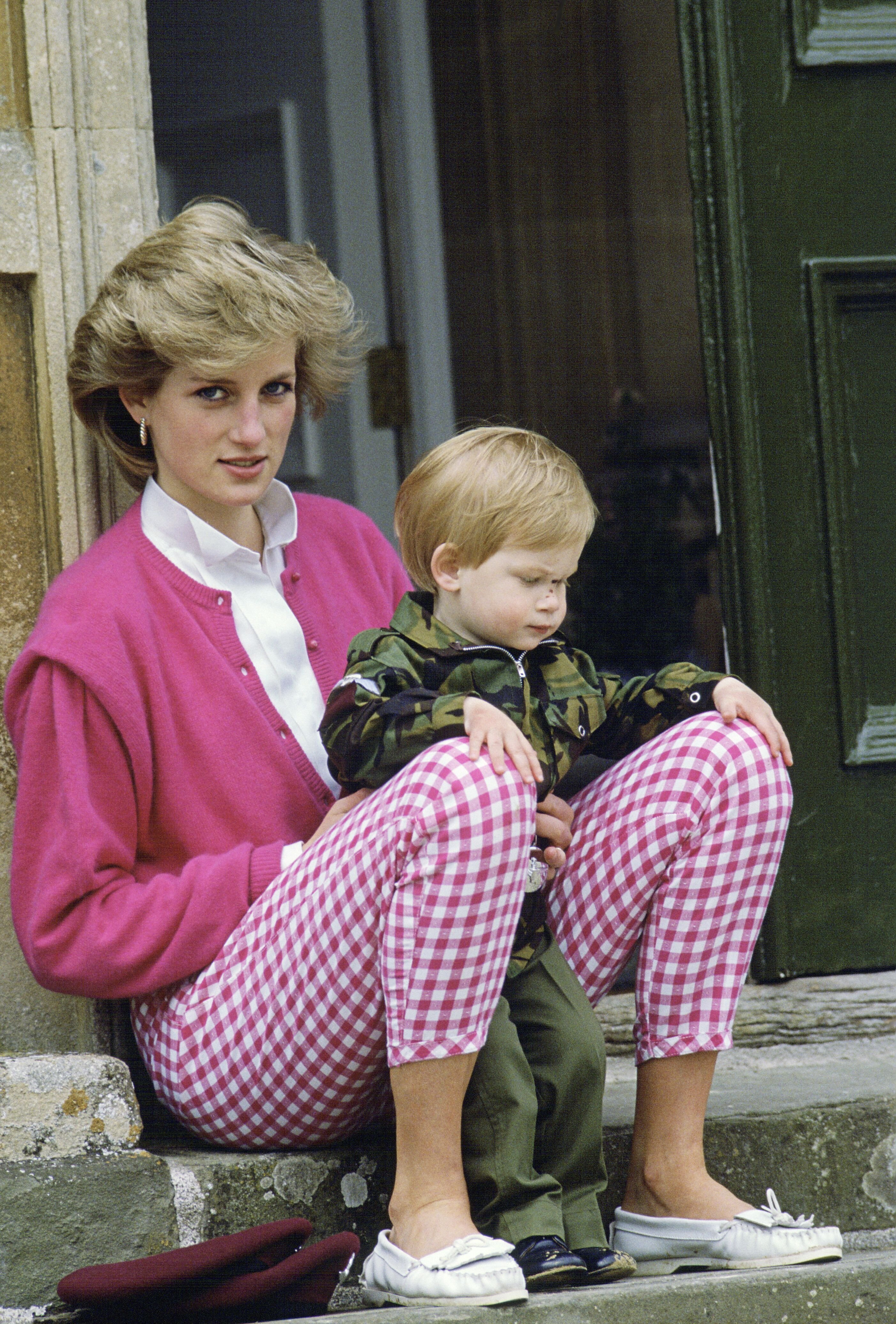 Princess Diana Sitting Outside Highgrove With Her Son Harry. | Source: Getty Images