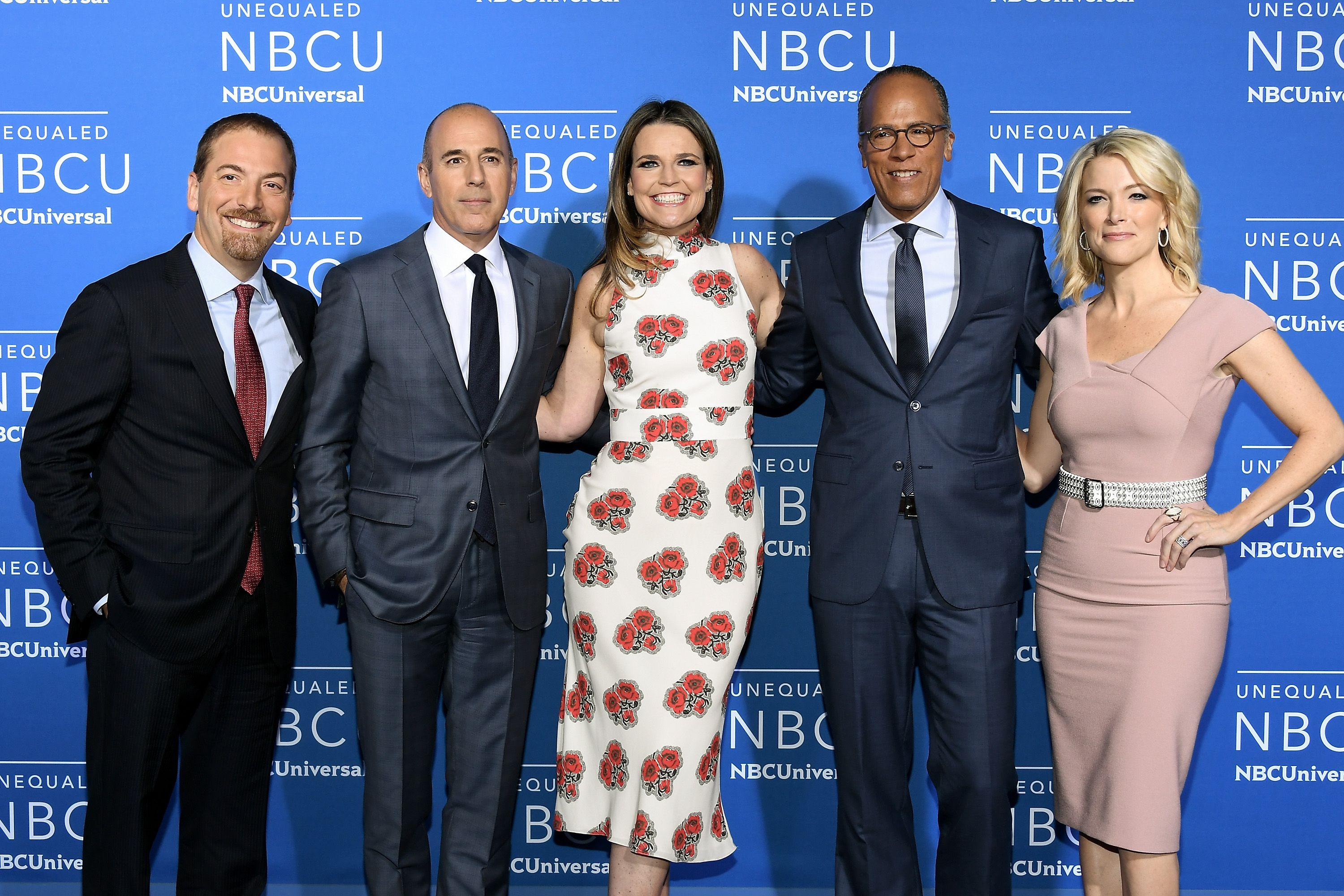 Chuck Todd, Matt Lauer, Savannah Guthrie, Lester Holt, and Megyn Kelly attend the 2017 NBCUniversal Upfront at Radio City Music Hall on May 15, 2017. | Photo: Getty Images.