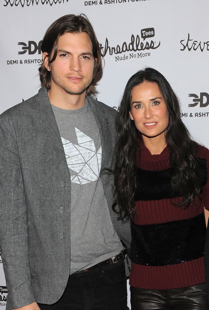 "Ashton Kutcher and Demi Moore attend the launch party for ""Real Men Don't Buy Girls"" at Steven Alan Annex. 