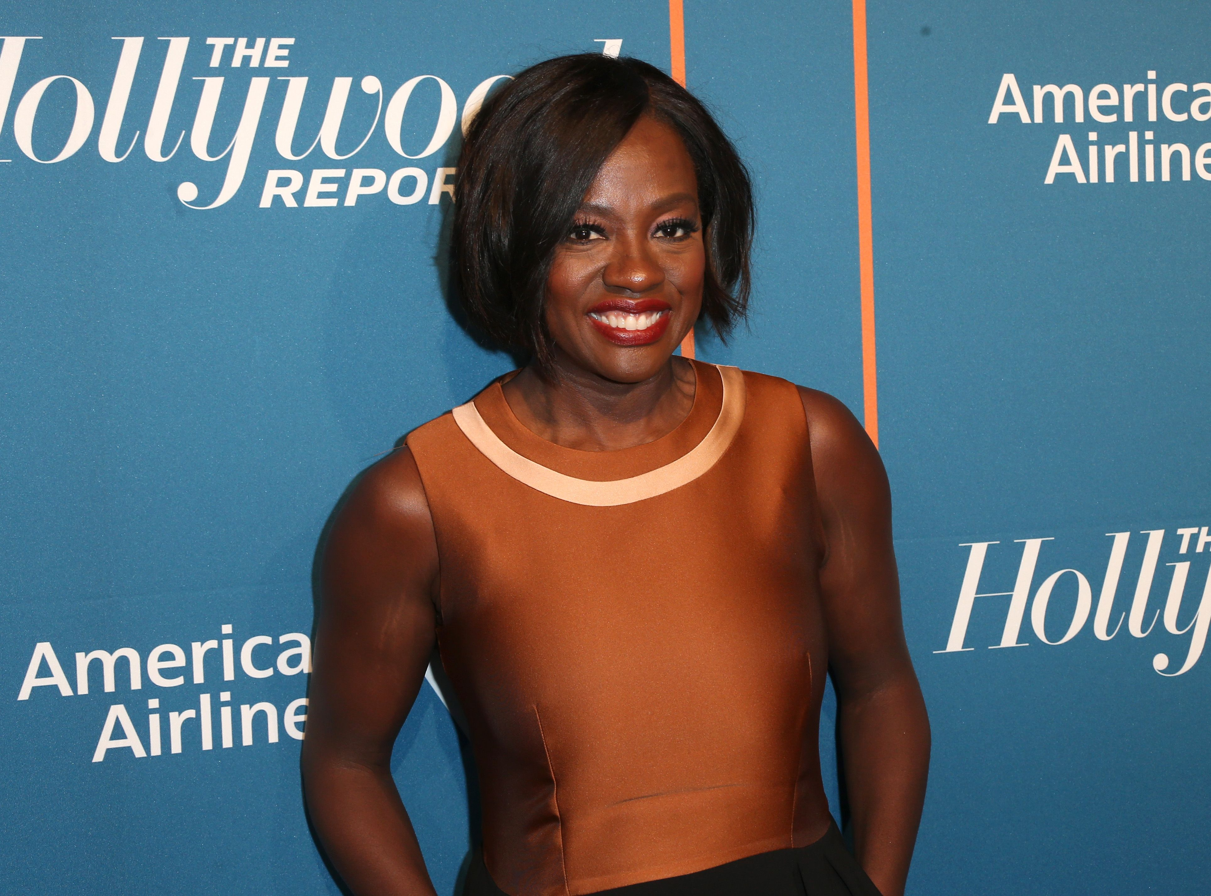Viola Davis in Beverly Hills showing face at The Hollywood Reporter's 5th Annual Nominees Night at Spago in February 2018.   Photo: Getty Images