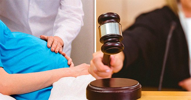 A doctor touches a pregnant woman's belly and a judge hits their gavel to make a ruling about a case of medical malpractice   Photo: Shutterstock