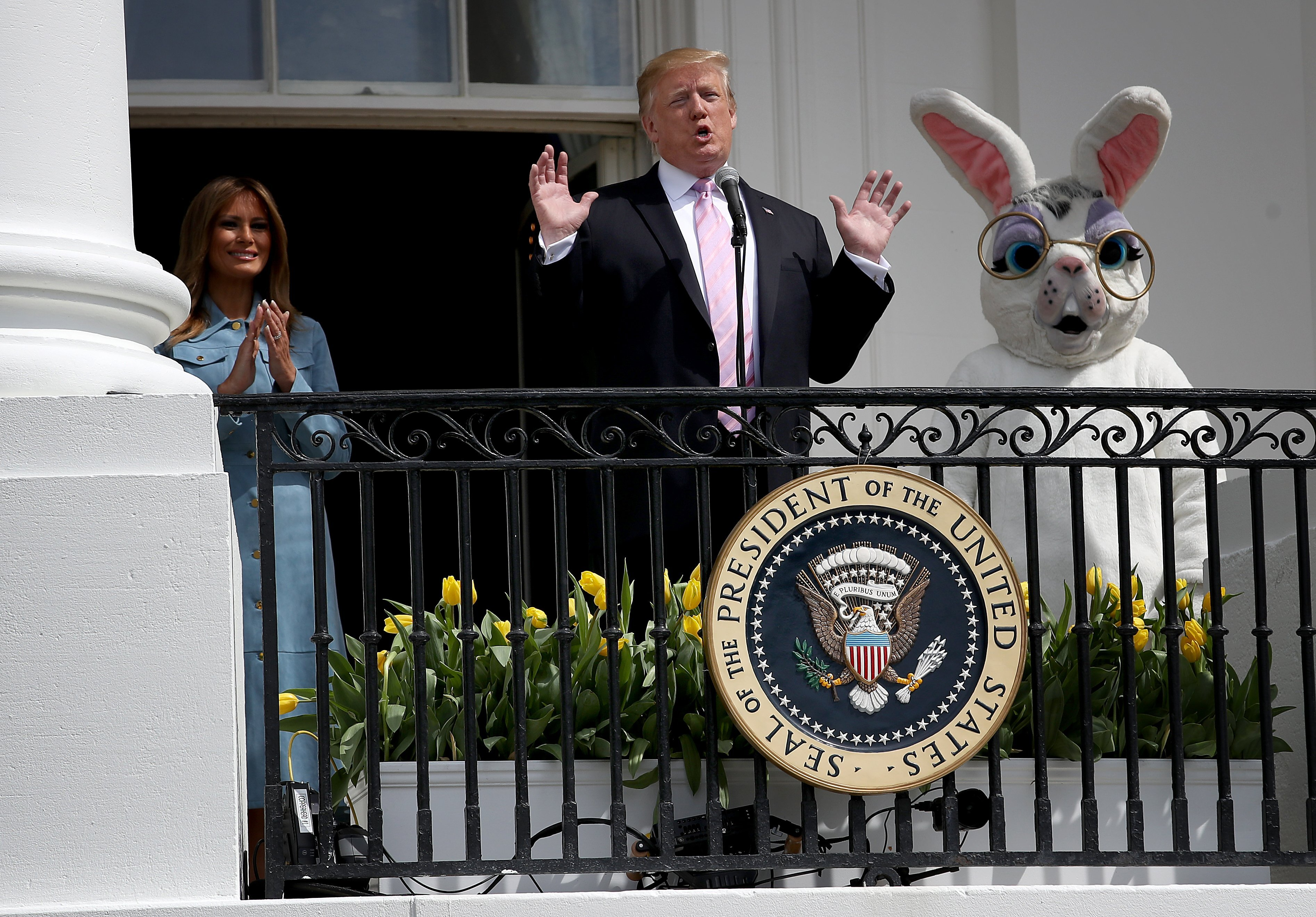 Donald Trump delivering the welcoming speech to the 141st Easter Egg Roll at the White House | Photo: Getty Images