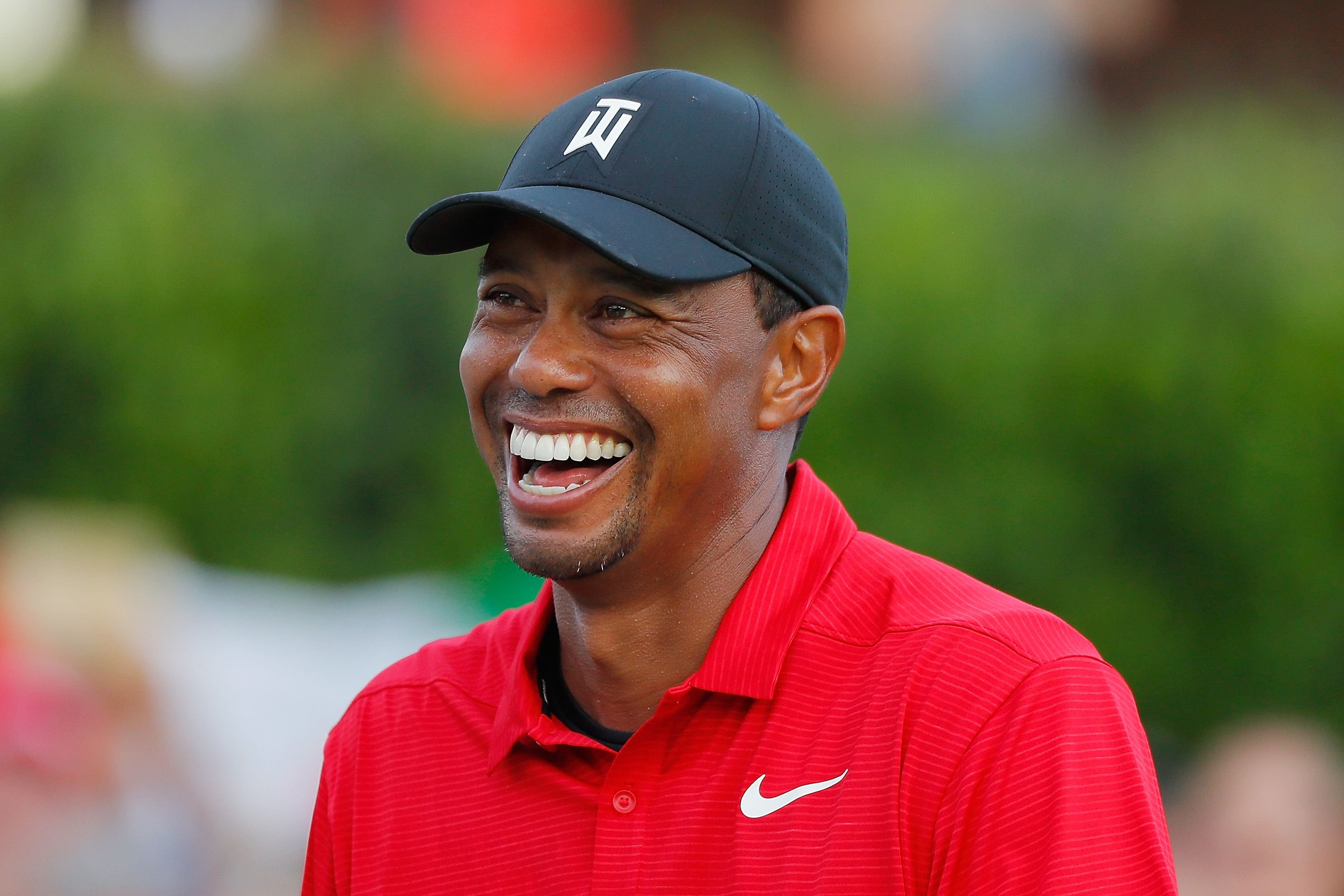 Tiger Woods during the trophy presentation ceremony after winning the TOUR Championship at East Lake Golf Club on September 23, 2018 in Atlanta, Georgia. | Source: Getty Images