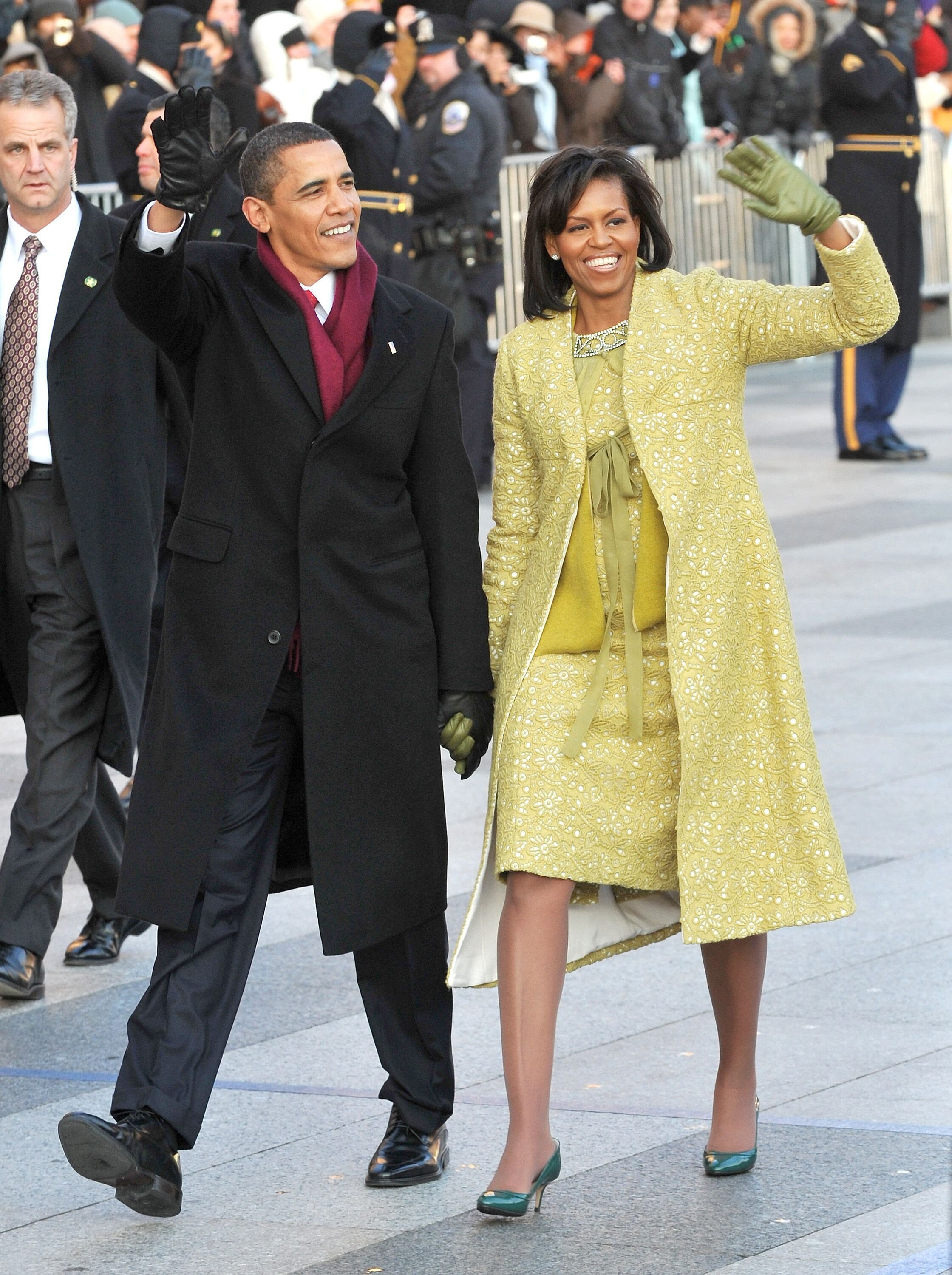 Barack Obama and first lady Michelle Obama walk in the Inaugural Parade.   Source: Getty Images