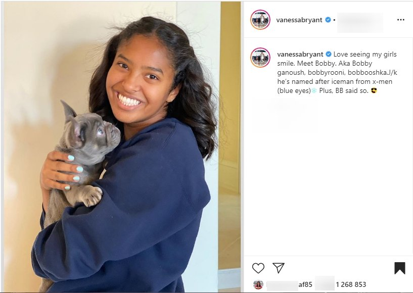 Vanessa shares a picture of Natalia and their new pet, Bobby. | Photo: Instagram/vanessabryant