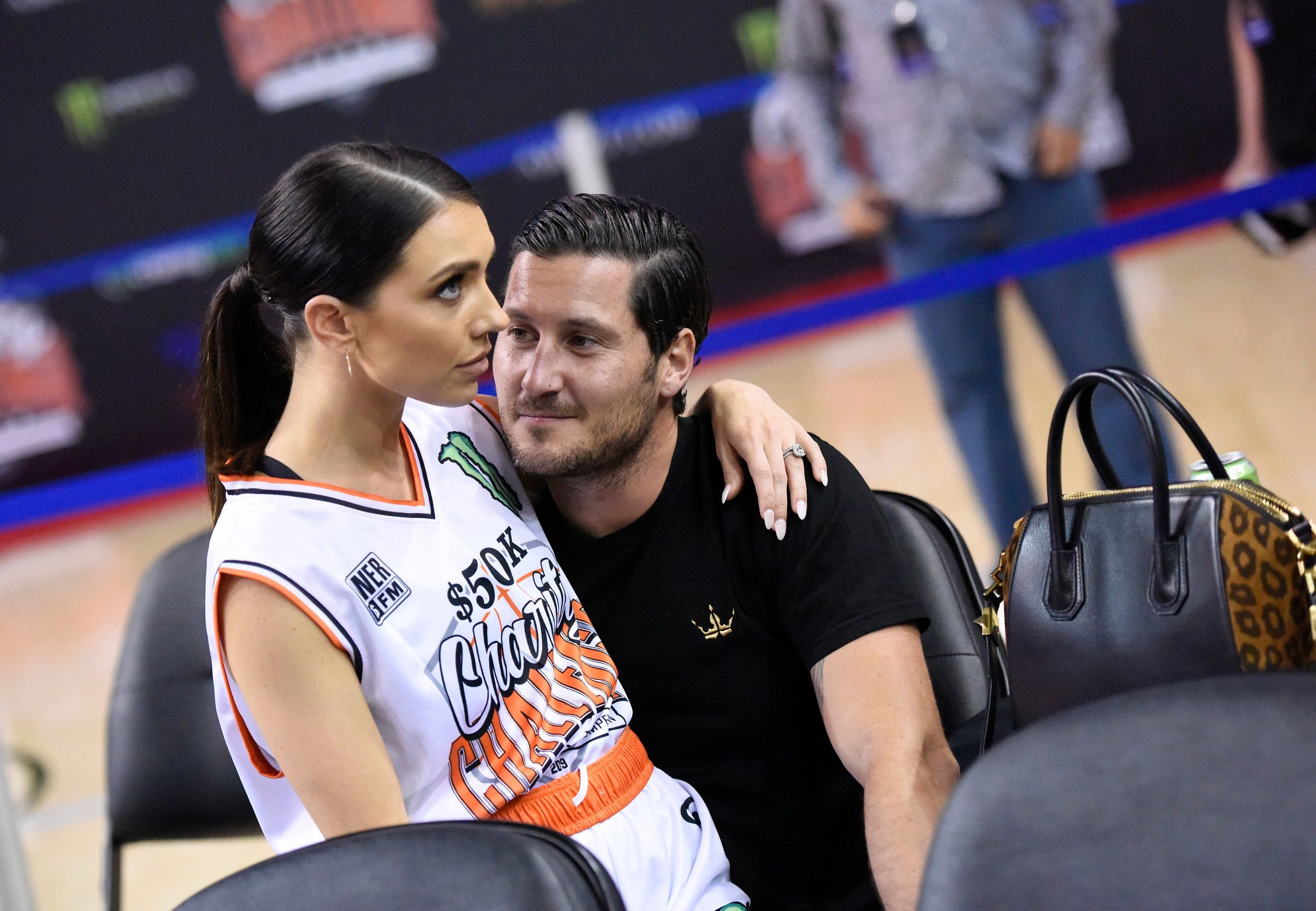 Val Chmerkovskiy and Jenna Johnson at the Monster Energy $50K Charity Challenge Celebrity Basketball Game in 2019 in Westwood, California | Source: Getty Images
