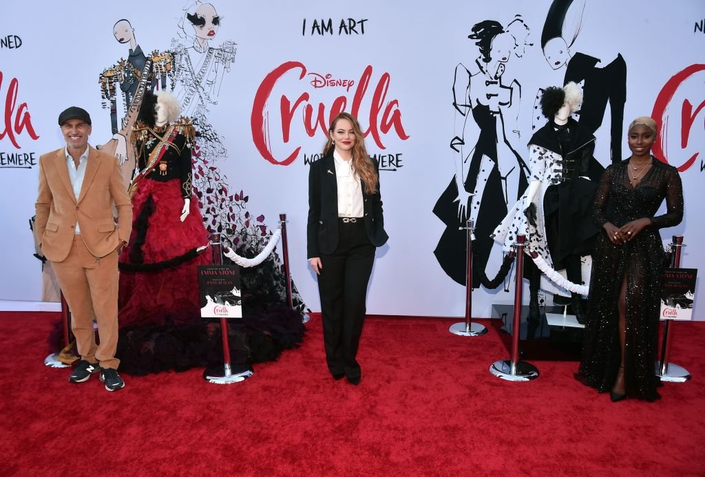 Craig Gillespie, Emma Stone and Kirby Howell-Baptiste arrive at the premiere for Cruella, May 2021   Source: Getty Images