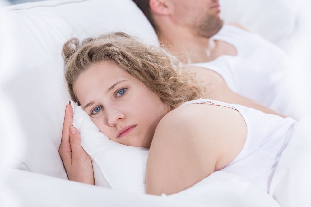 Her husband came to bed and fell asleep but she stayed up all night, crying.   Photo: Shutterstock