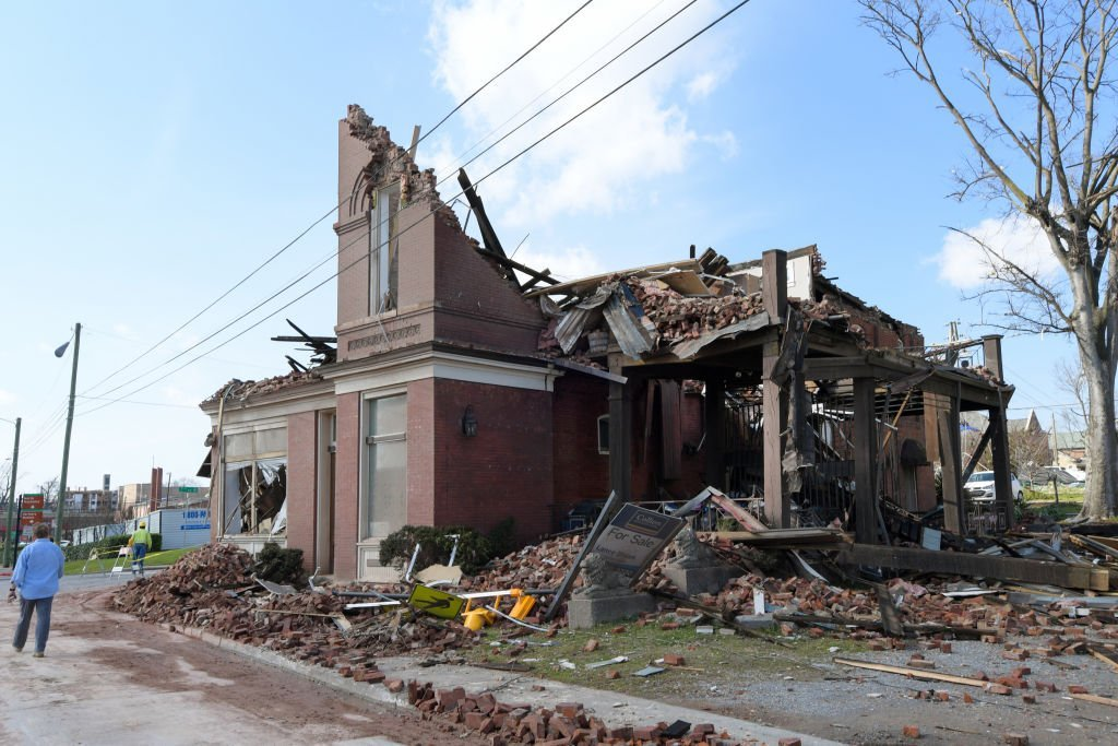 A building damaged by the tornado in the Germantown on March 03, 2020 in Nashville, Tennessee | Jason Kempin/Getty Images