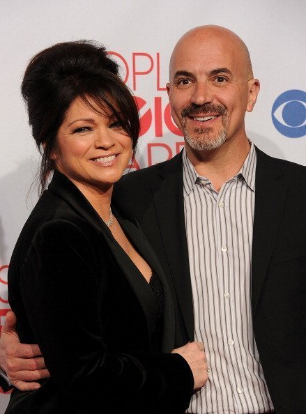 "Valerie Bertinelli, winner of Favorite Cable TV Comedy Award for ""Hot in Cleveland,"" and husband Tom Vitale in the press room during the 2012 People's Choice Awards on January 11, 2012 