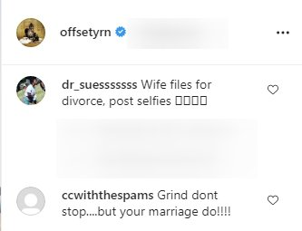 Fans' comments on Cardi B and Offset's divorce in September 2020| Photo: Instagram/offsetyrn