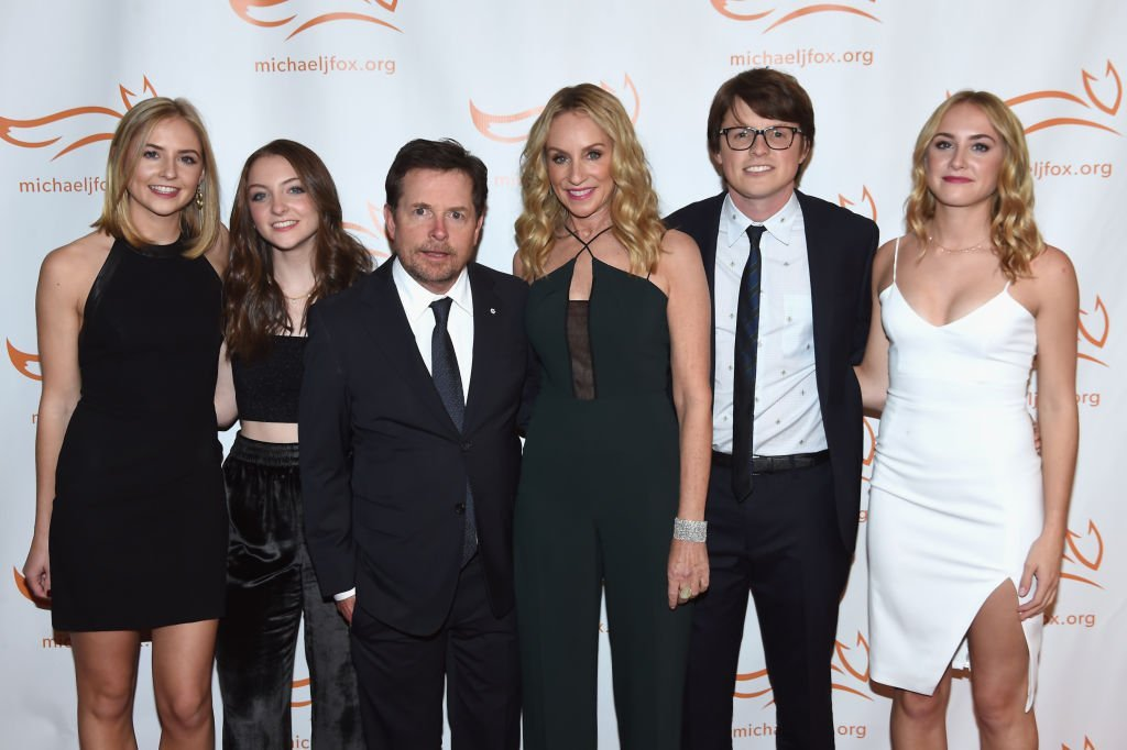 Michael J. Fox and wife Tracy Pollan with their family as they attend the actor's Parkinson's foundation benefit in New York City on November 11, 2017 | Photo: Getty Images
