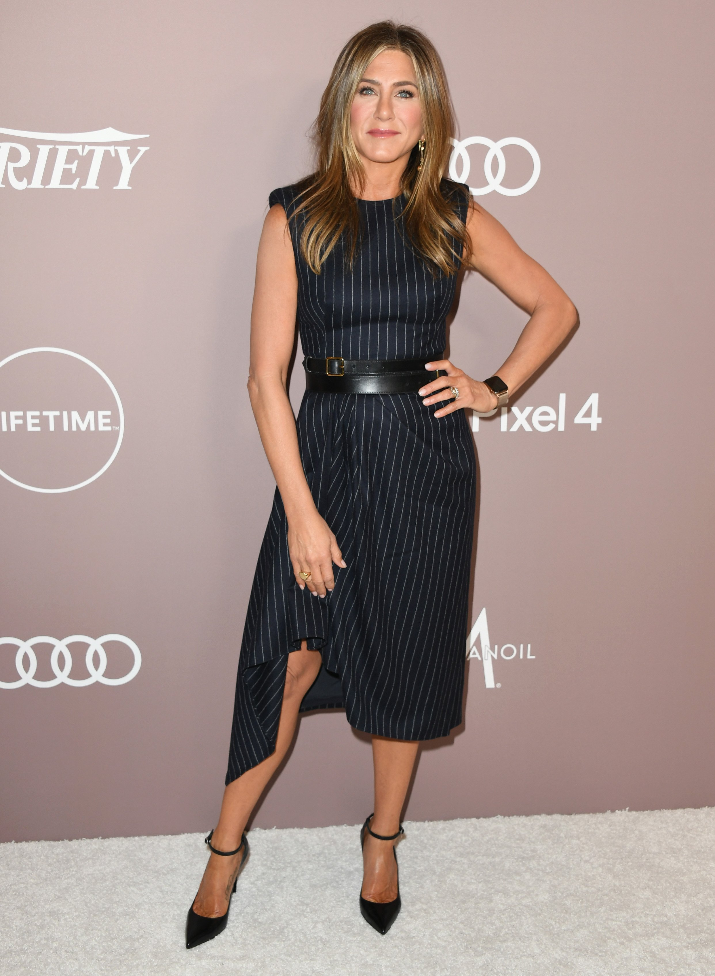 Jennifer Aniston at Variety's 2019 Power of Women luncheon in Los Angeles, California in October 2019.   Photo: Getty Images