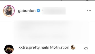 Screenshot of comments on Gabrielle Union's Instagram post doing workouts.   Source: Instagram/GabUnion
