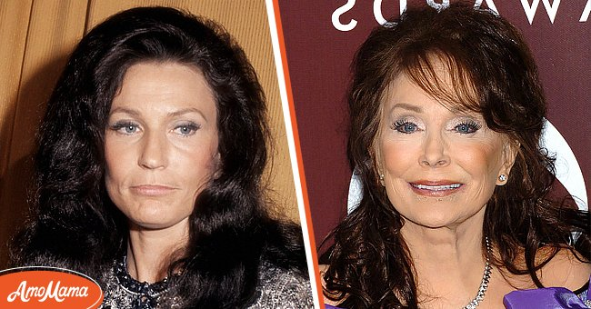 Left:  Country singer Loretta Lynn attends the 6th Annual CMA Awards at the Ryman Auditorium in 1972 in Nashville, Tennessee. Right: Loretta Lynn at the 47th Annual GRAMMY Awards in 2005. | Source: Getty Images