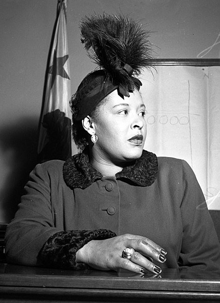 Billie Holiday in court during contract lawsuit in Los Angeles, Calif., 1949.   Photo: Wikimedia Commons By Los Angeles Times photographic archive, Public Domain