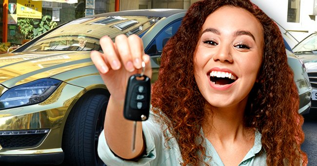 A woman stands excitedly in front of a new car holding a set of keys.   Photo: Shutterstock   pexels.com/mikebirdy