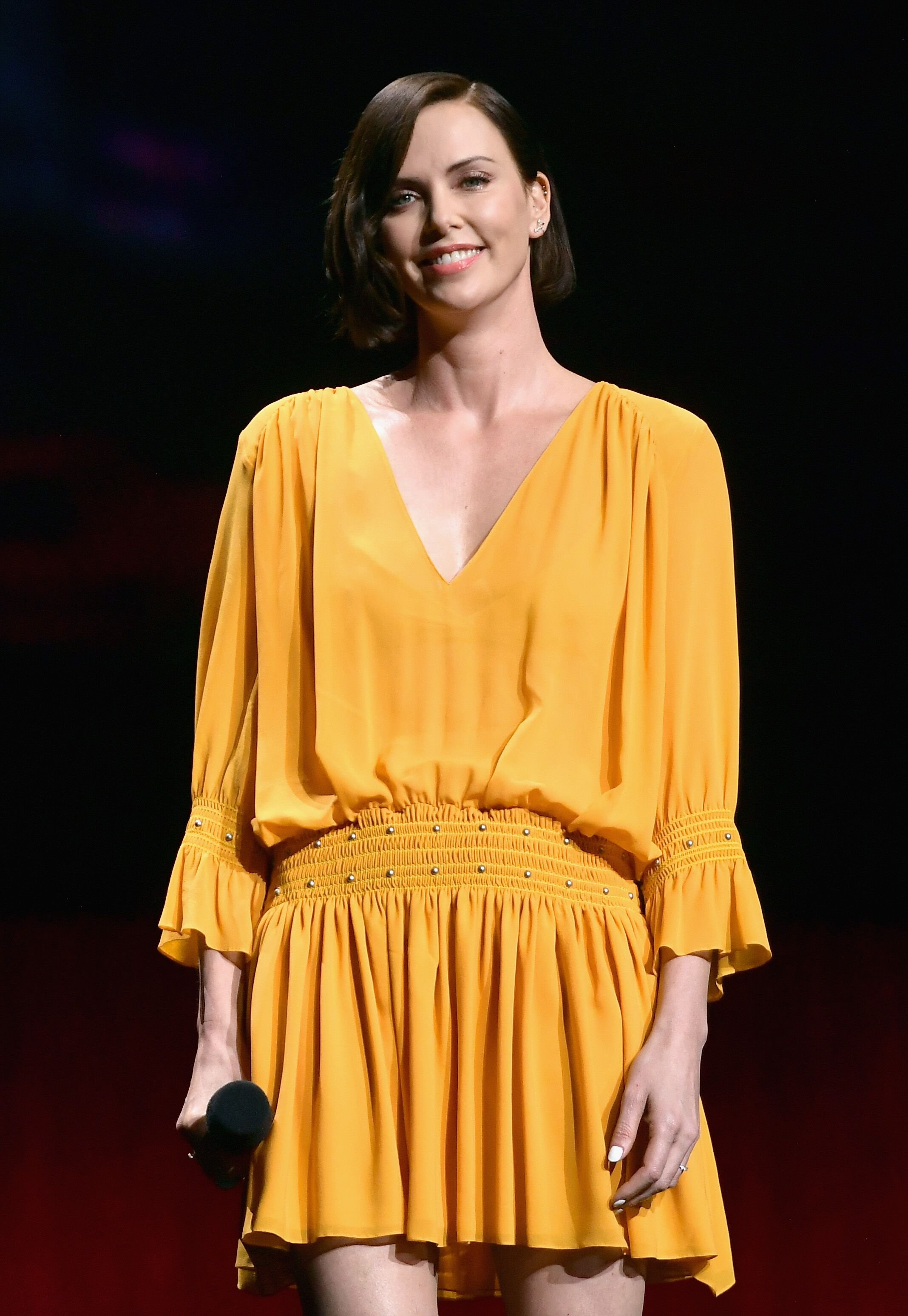 Charlize Theron speaks onstage at CinemaCon 2019. | Source: Getty Images