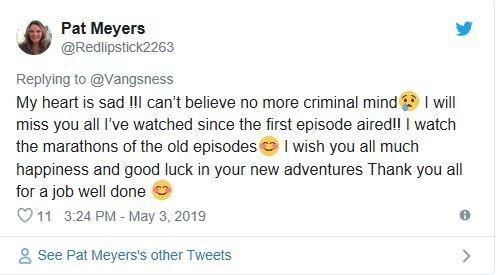 Fan Response Criminal Minds Cancellation | Source Twitter