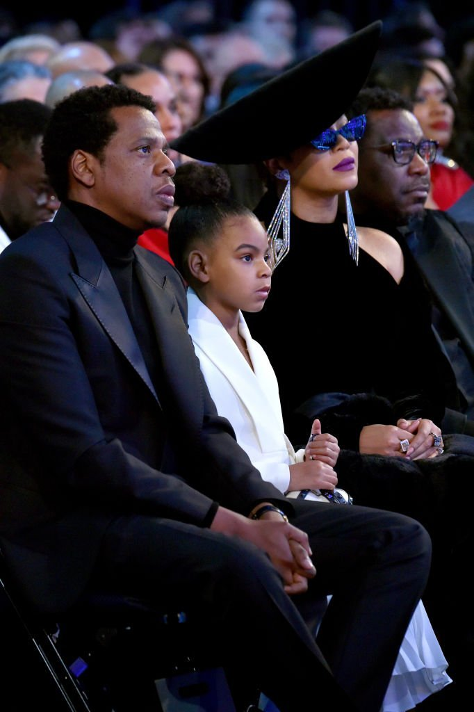 Jay-Z, Blue Ivy & Beyonce at the 60th Annual GRAMMY Awards in New York City on Jan. 28, 2018. | Source: Getty Images/GlobalImagesUkraine