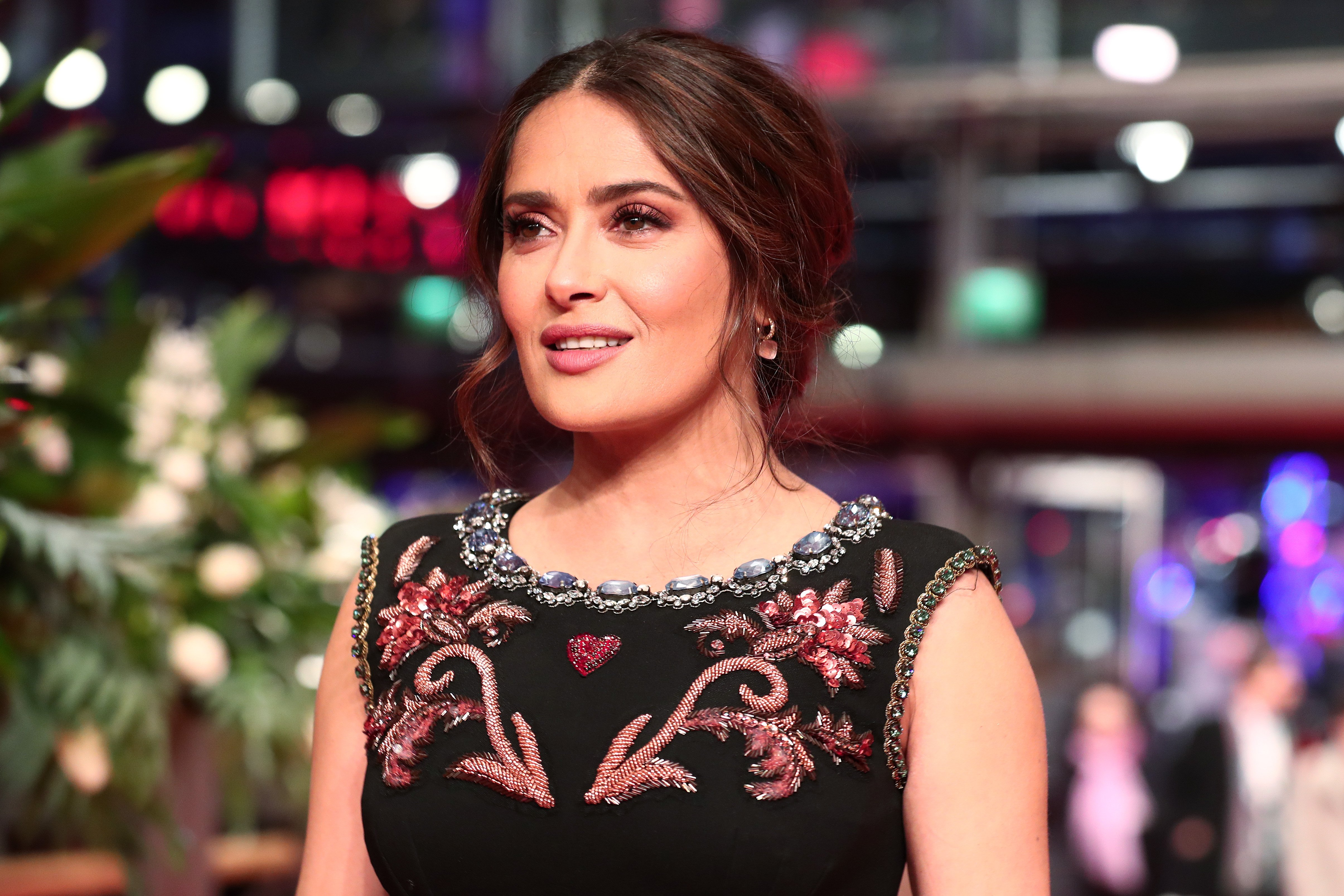 """Salma Hayek pictured attending the  the """"The Roads Not Taken"""" premiere during the 70th Berlinale International Film Festival Berlin, 2020, Berlin. 