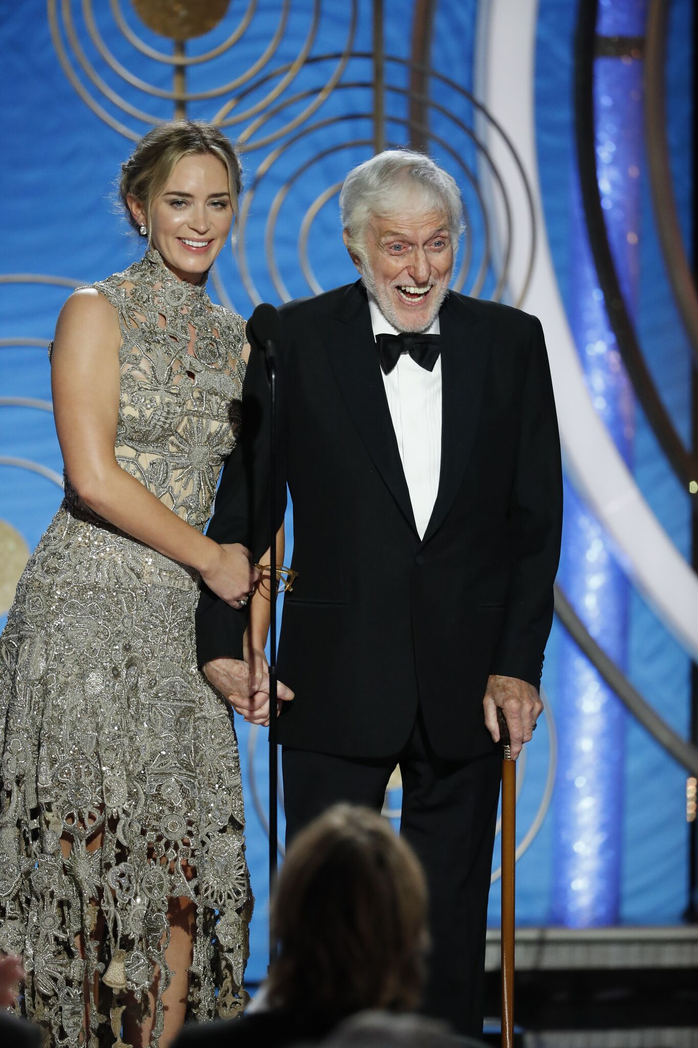 Emily Blunt and Dick Van Dyke speak onstage during the 76th Annual Golden Globe Awards at The Beverly Hilton Hotel | Getty Images