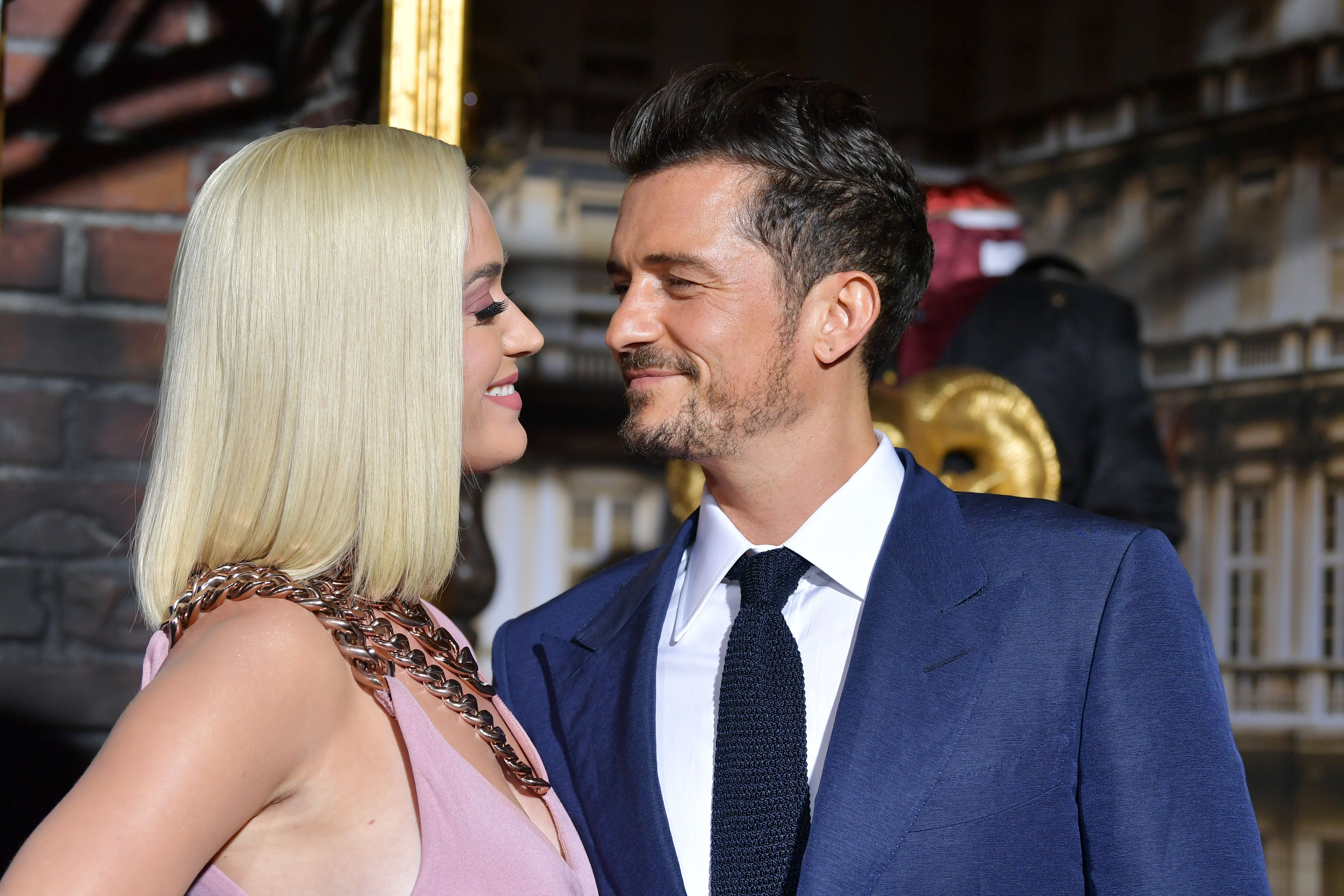 "Katy Perry and Orlando Bloom at the LA Premiere Of Amazon's ""Carnival Row"" at TCL Chinese Theatre on August 21, 2019 in Hollywood, California. 
