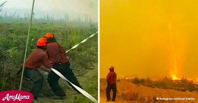 Rare 'fire tornado' sends firefighters scrambling as it sucks their hose into the air