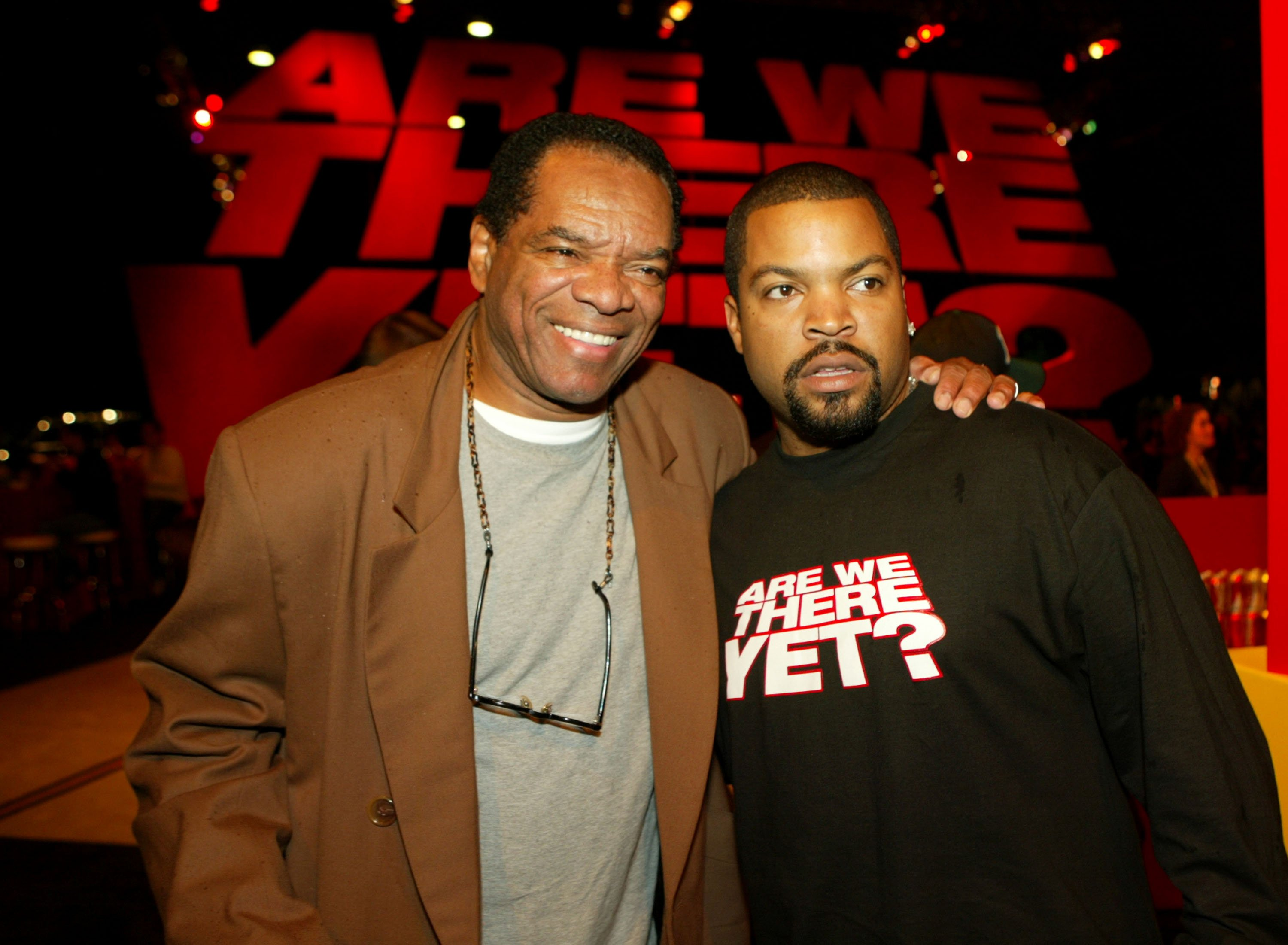 "John Witherspoon & Ice Cube pose at the after party of the premiere of ""Are We There Yet"" on Jan. 9, 2005 in California 