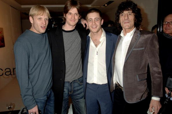 Jamie Wood, Jesse Wood, Ty Wood, and Ronnie Wood at the Scream Gallery on April 3, 2008 in London, England.  | Photo: Getty Images