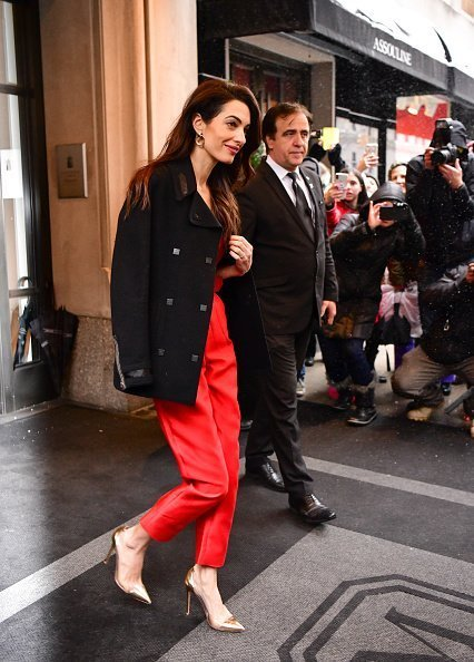 Amal Clooney leaves The Mark Hotel after attending Meghan, Duchess of Sussex's baby shower on February 20, 2019 in New York City | Photo: Getty Images