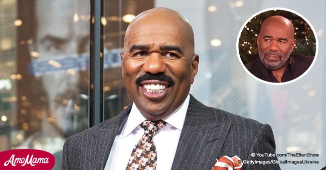 Steve Harvey appears with a brand new look, changing his mustache style