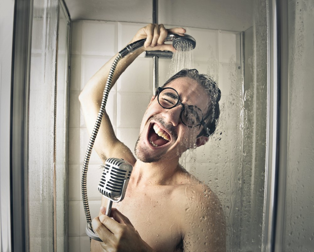 A photo of a man singing in the shower.   Photo: Shutterstock