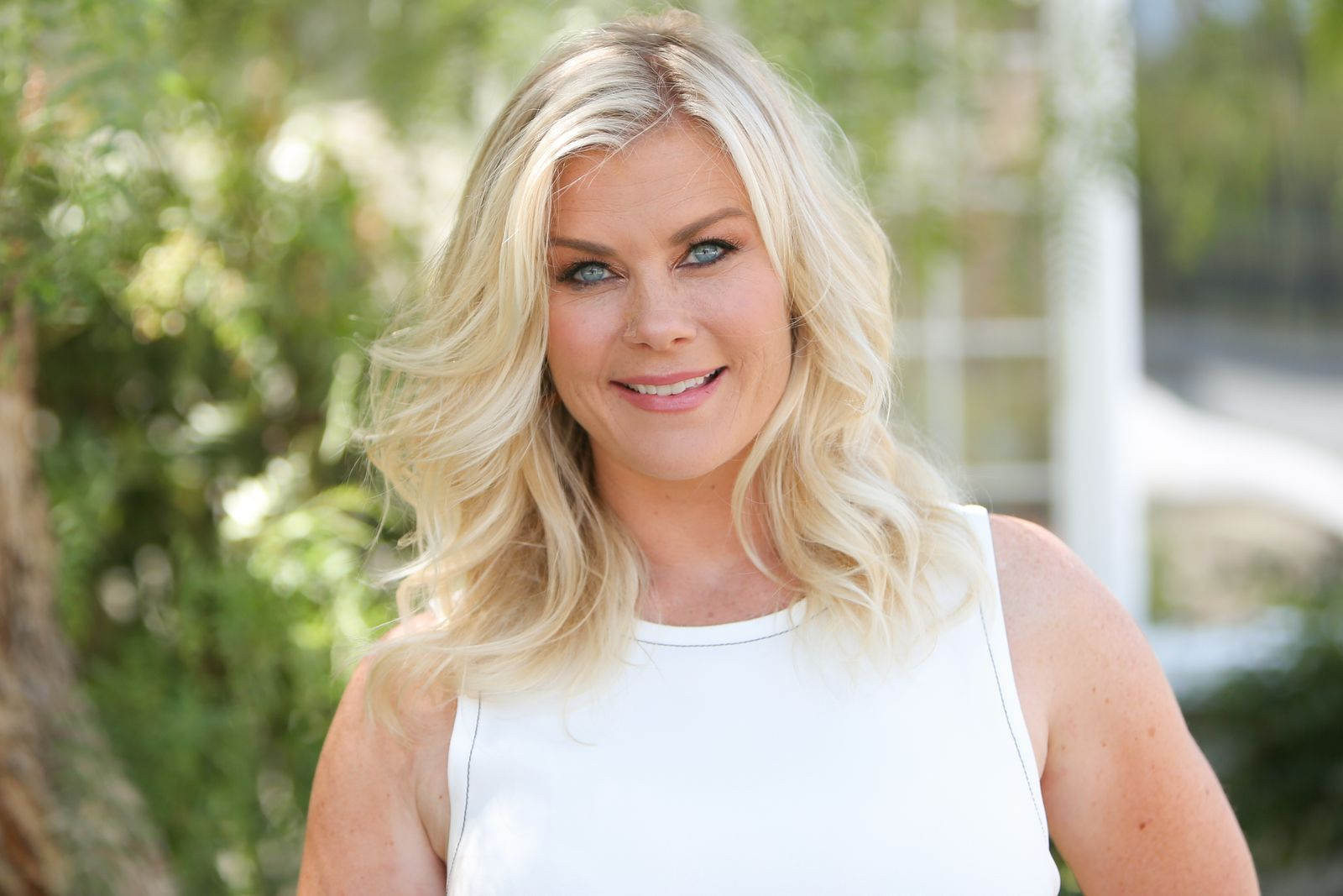 "Alison Sweeney visits Hallmark's ""Home & Family"" at Universal Studios Hollywood on July 26, 2019, in Universal City, California 