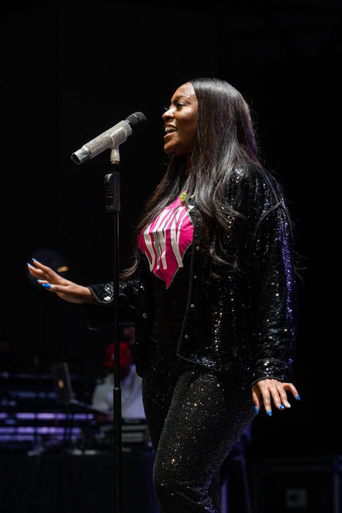 Tamara Johnson-George of SWV performs at the Aretha Franklin Amphitheatre on August 6, 2021   Photo: Getty Images